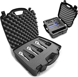 CASEMATIX Hard Shell Travel Case for Up to 6 Microphones with Customizable Foam and CASEMATIX Hard Shell Travel Case for Mixers and Accessories