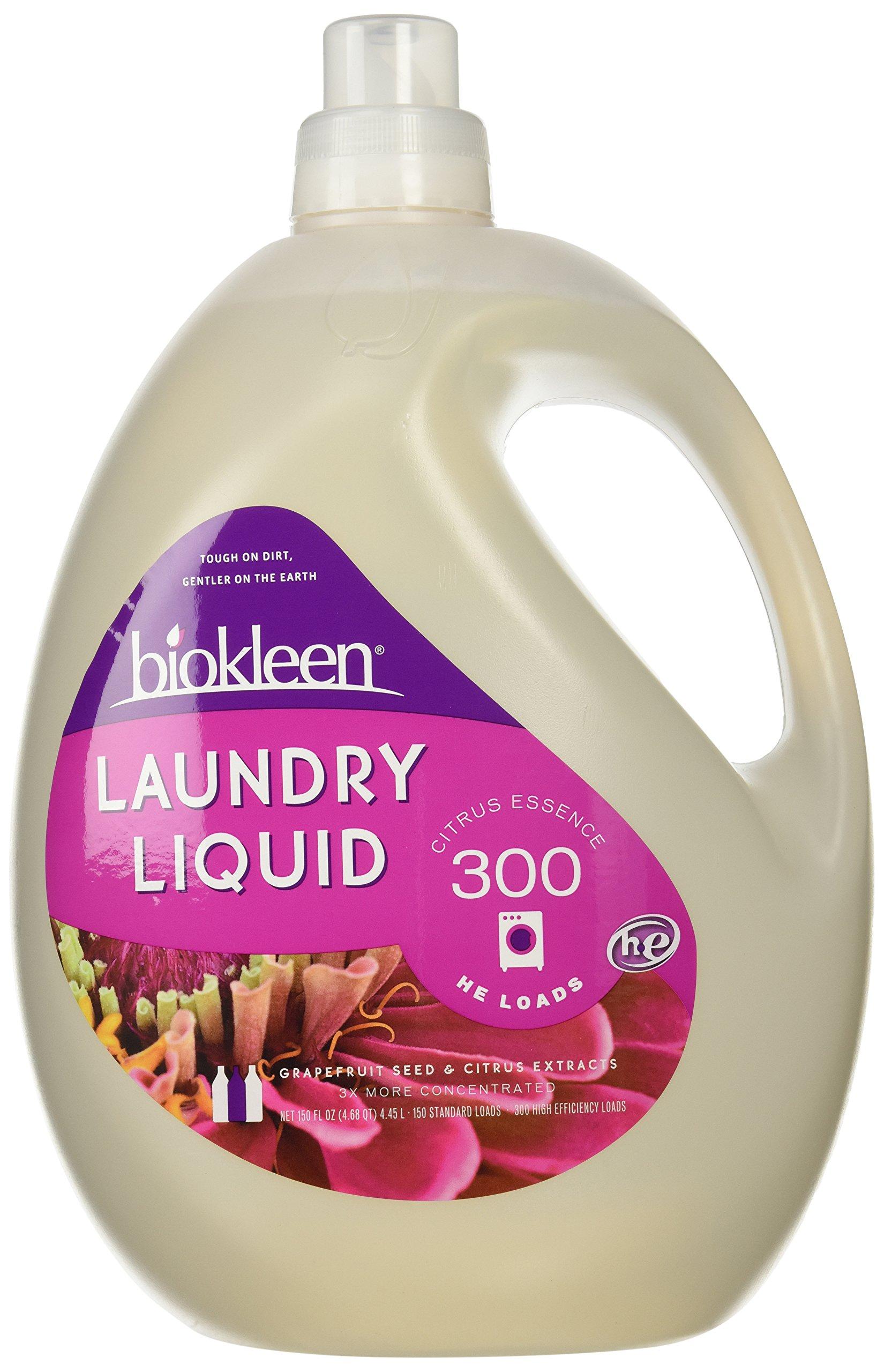Biokleen Laundry Liquid, Citrus Essence, 150 oz - 300 HE Loads/150 Standard Loads