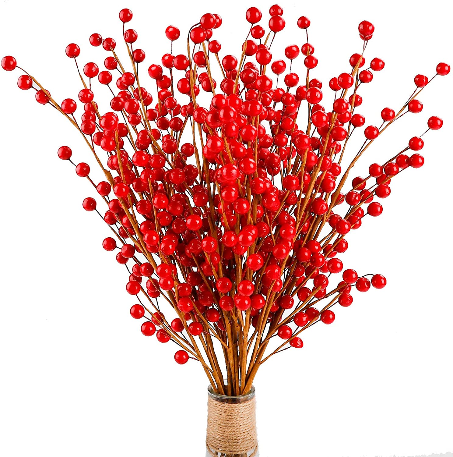 FUNARTY 15pcs Artificial Red Berries Christmas Berries Stems for Winter Home Decor Craft and Holiday Party