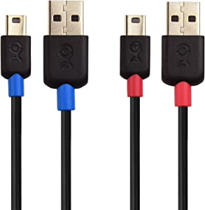 Cable Matters 2-Pack USB to Mini USB Cable (Mini USB to USB Cable) 6 ft