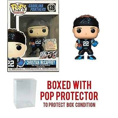 Pop NFL Christian McCaffrey Carolina Panthers Home Jersey Vinyl Figure Bundled with Pop Shield Protector: Toys & Games