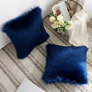 Foindtower Pack of 2 Mongolian Plush Faux Fur Square Decorative Throw Pillow Case Cushion Cover New Luxury Series for Livingroom Couch Sofa Nursery Bed Home Decor 18x18 Inch Dark Blue