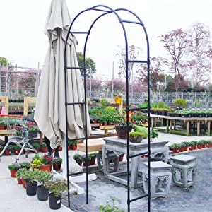 ZYLA Steel Garden Arbors and Arches (86.6in) in Black Rose Arbor Garden Archway Ideal for Climbing Vines and Plants