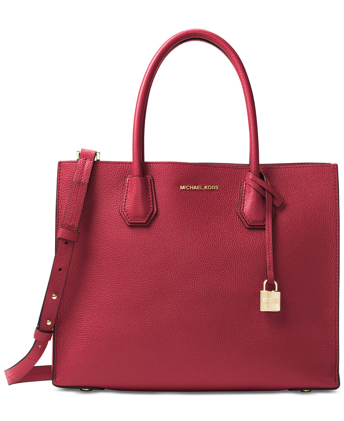 Michael Kors Mercer Large Bonded Leather Tote - Burnt Red