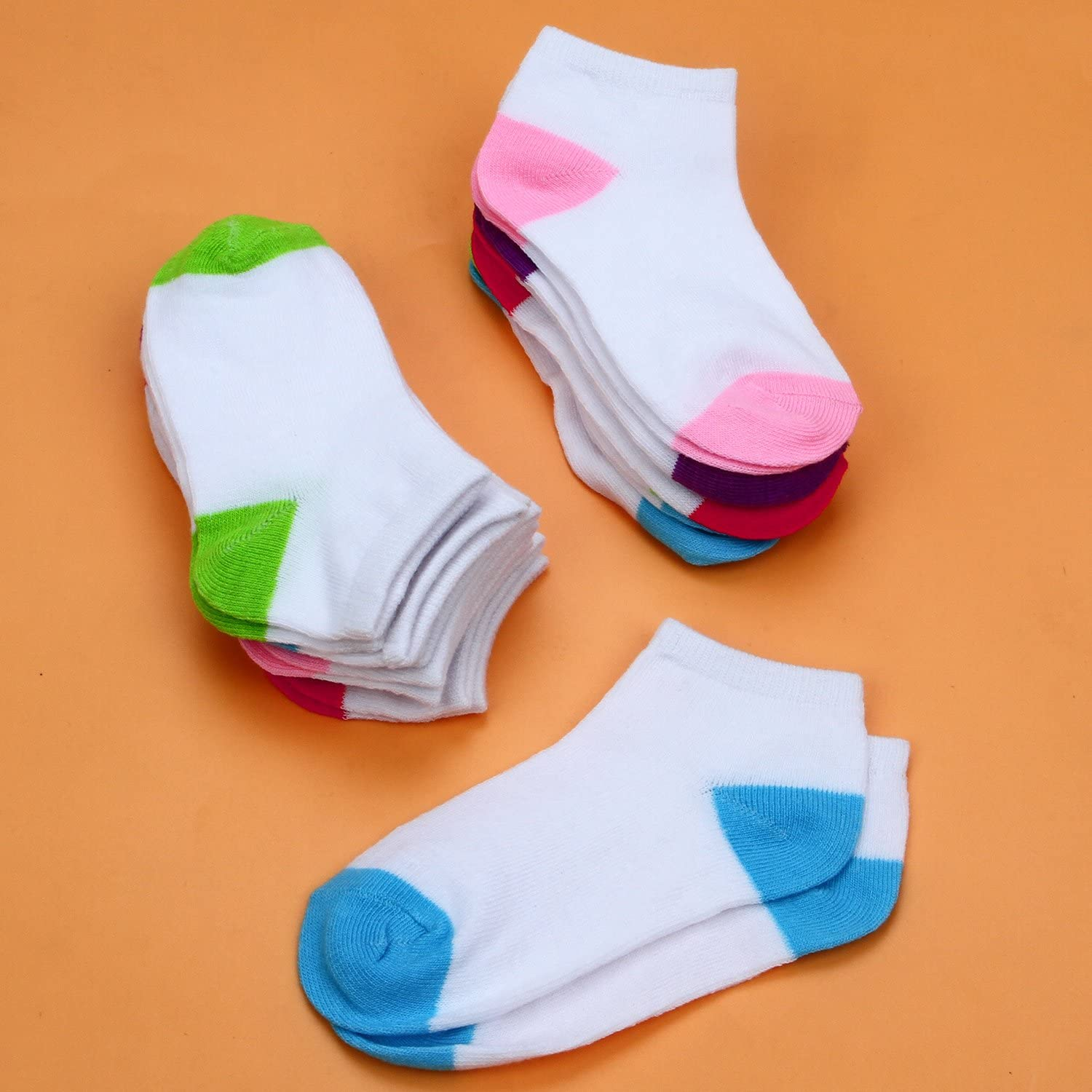 Coobey 15 Pairs Toddler Kids Half Cushion Low Cut Socks Boys Girls Ankle Cotton Socks