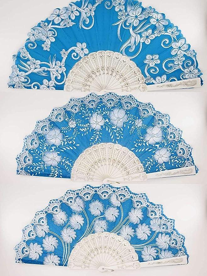 12 Pcs Blue Silver Glitter Floral Pattern Hand Fan For Wedding Shower Party