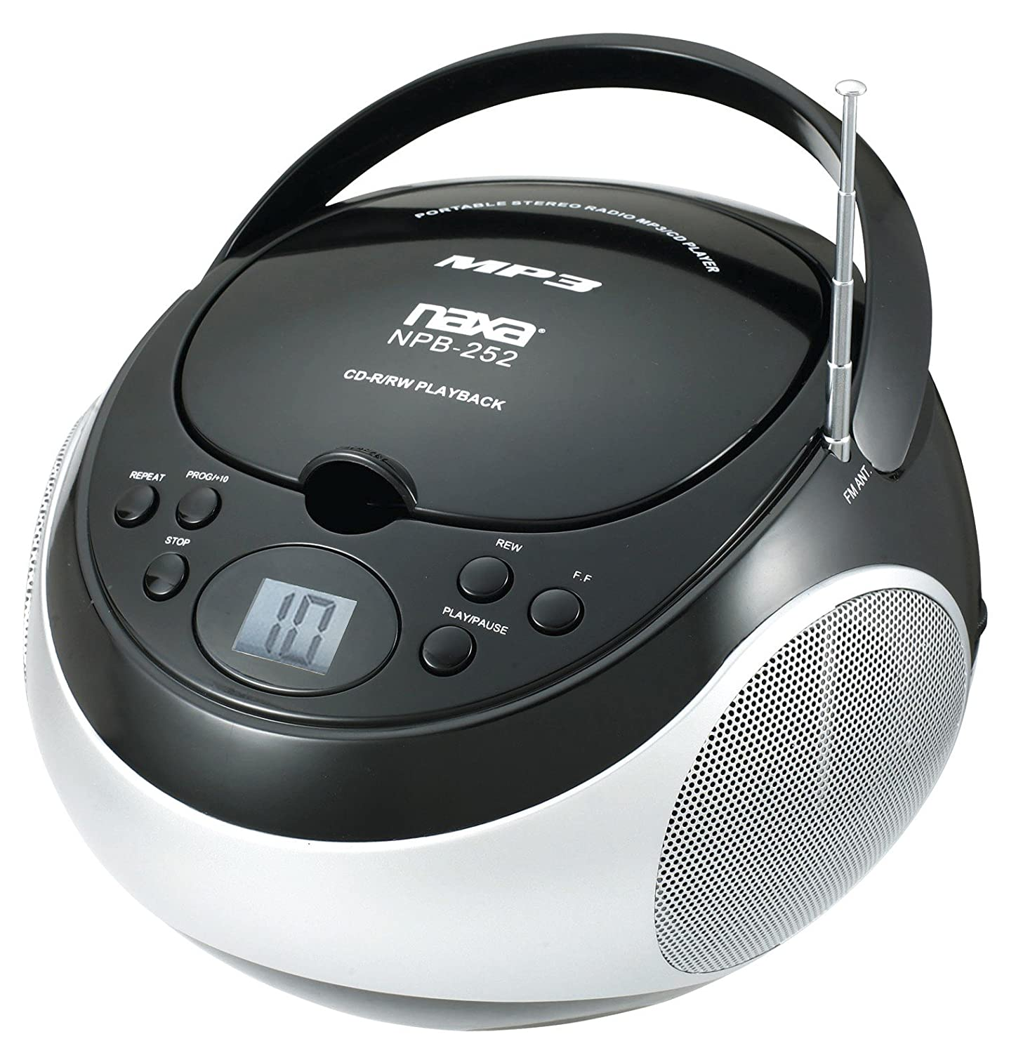 NAXA NBP252-BLK Portable MP3/CD Player with AM/FM Stereo Radio (Black) NAXA Electronics MSS1101938T02