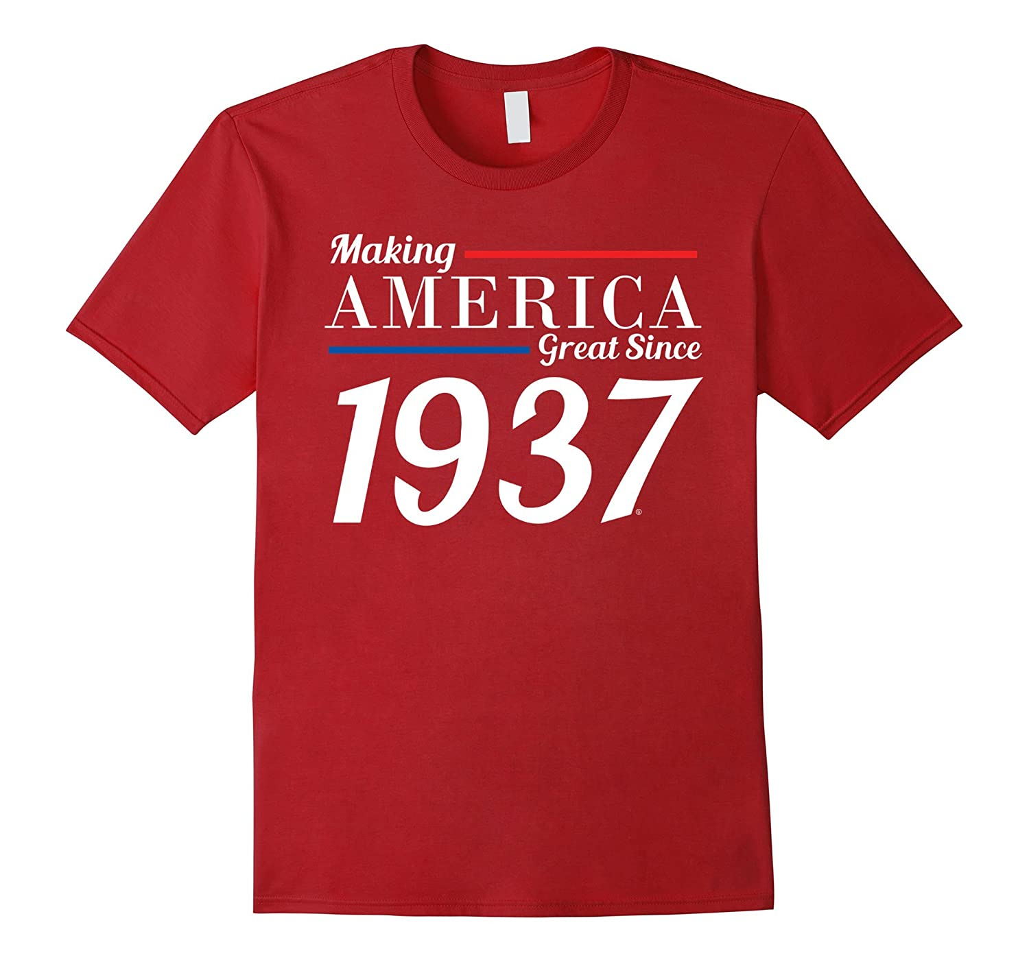 Mens 80th Birthday Gifts Fathers Day Mothers 1937 T Shirt TH