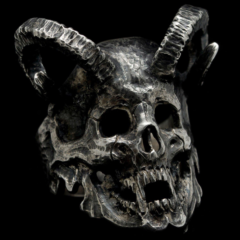 925 Sterling Silver Skull Ring with Ram Horns Mens Biker Custom Gothic Jewelry