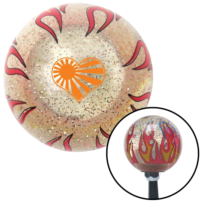 Orange Rising Sun Heart Clear Flame Metal Flake with M16 x 1.5 Insert American Shifter 295864 Shift Knob