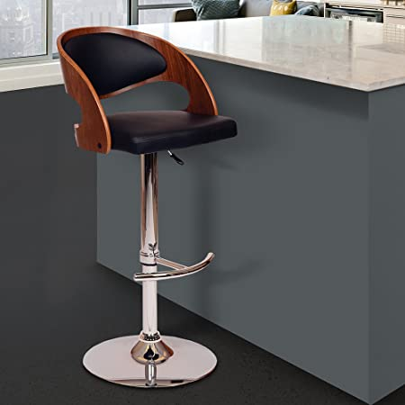 Armen Living LCMASWBABLWA Malibu Swivel Barstool in Black Faux Leather and Chrome Finish