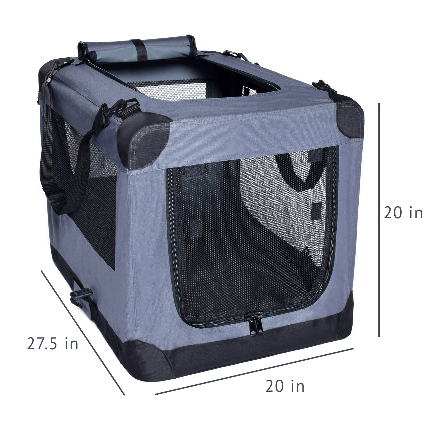 Arf Pets Dog Soft Crate Kennel for Pet Indoor Home Outdoor Use – Soft Sided 3 Door Folding Travel Carrier with Straps