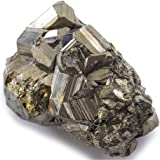 KALIFANO Natural Pyrite Cluster - High Energy Iron Piedra Pirita from Spain with Healing Properties (Information Card) Fools