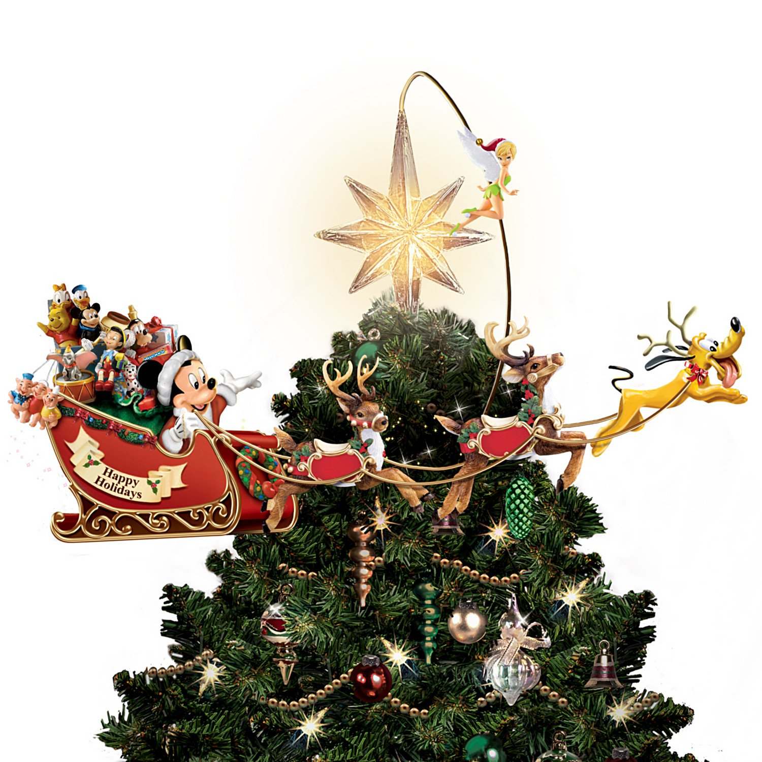 Disney's Timeless Holiday Treasures Illuminated Rotating Tree Topper by The Bradford Exchange 01-10462-001