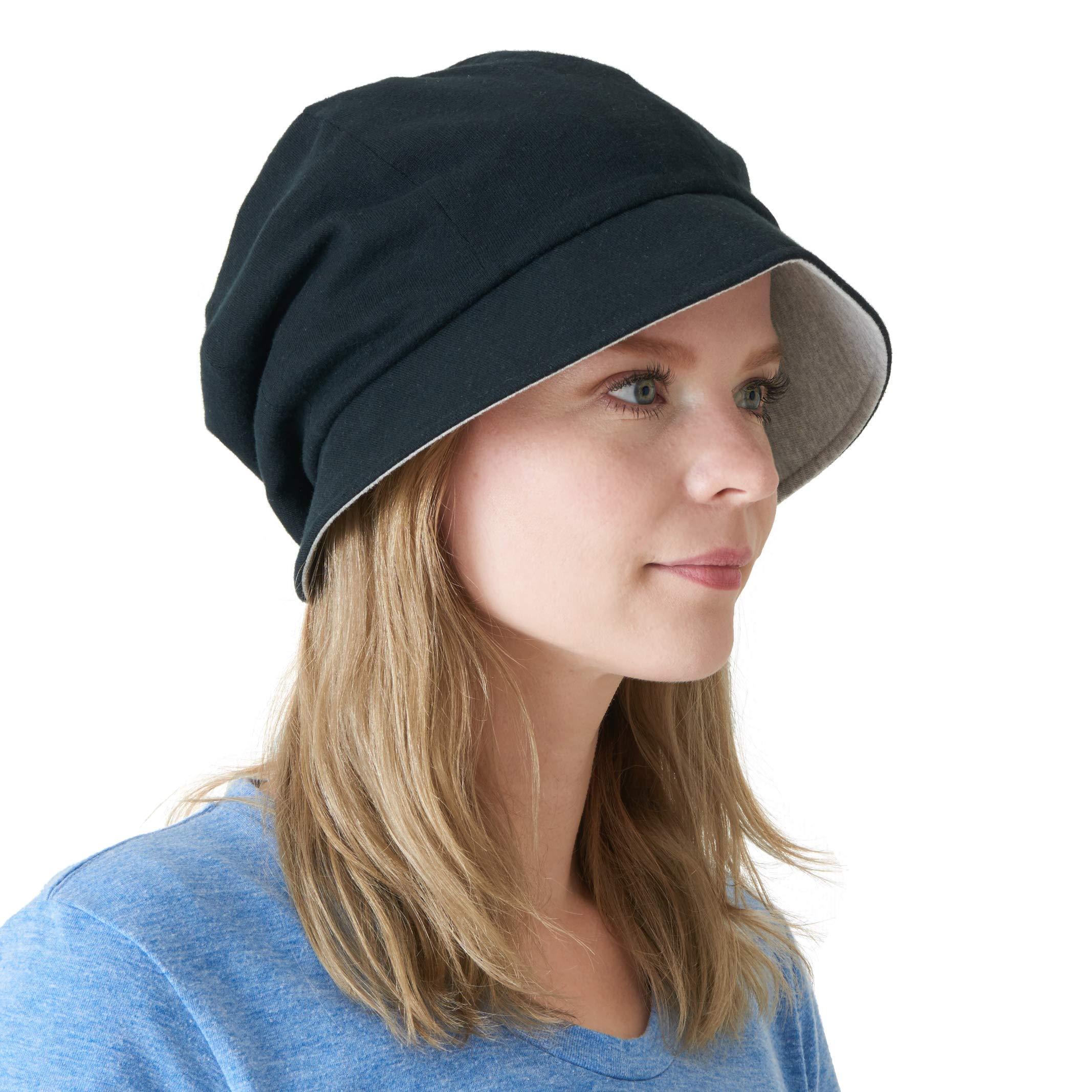 CHARM Casualbox   Womens Sun Hat Organic Cotton Reversible Japanese Design Black & Light Gray