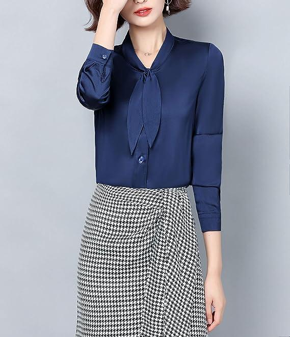 DOVWOER Camisa elegante de satén de manga larga para mujer