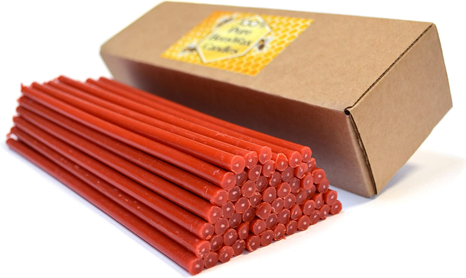 Natural Pure Beeswax Candles Organic Honey Eco Candles Amber Red Color in Gift Box (Natural Cotton Wicks, Dripless, Smokeless, Not Taper Candles) (Red, 8 Inches (20 cm) 60pcs)
