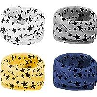 ANSUG 4 Piezas Bufanda de los niños, Suave calentador de cuello de algodón bufanda de Invierno O Ring Infinity Loop…