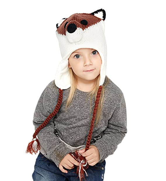 e57223da4 SUMOLUX Winter Kids Warm Fox Animal Hats Knitted Coif Hood Scarf Beanies  for Autumn Winter