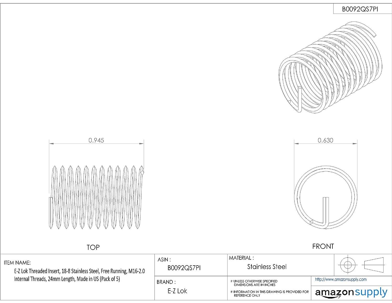 M16-2.0 Internal Threads E-Z Lok Threaded Insert 24mm Length 18-8 Stainless Steel Pack of 5 Helical