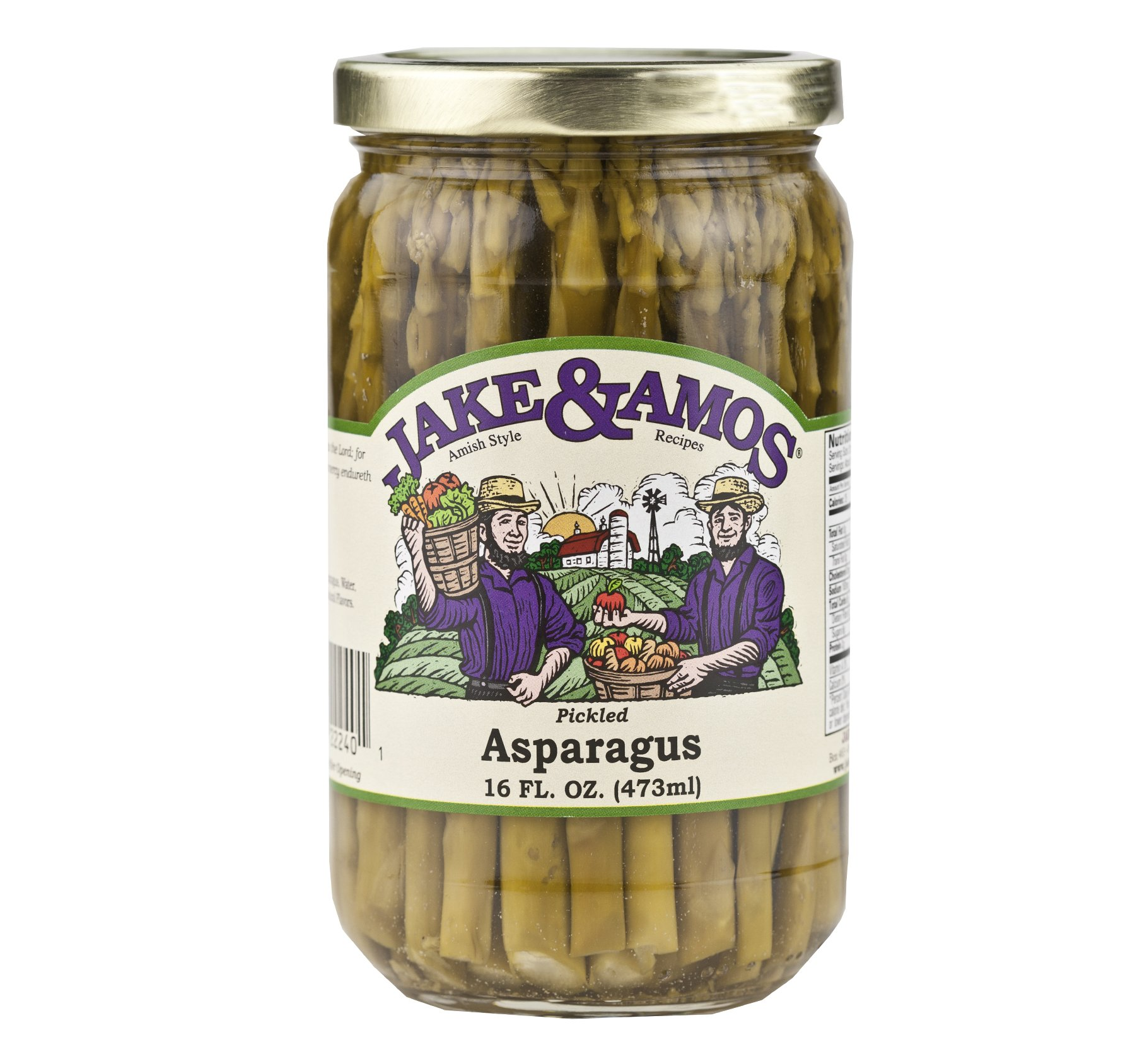 Jake & Amos Pickled Asparagus 16 oz. (3 Jars) - Vegan, Non-GMO - Traditional Pickled Recipe - Filled with Vitamin K and Vitamin B