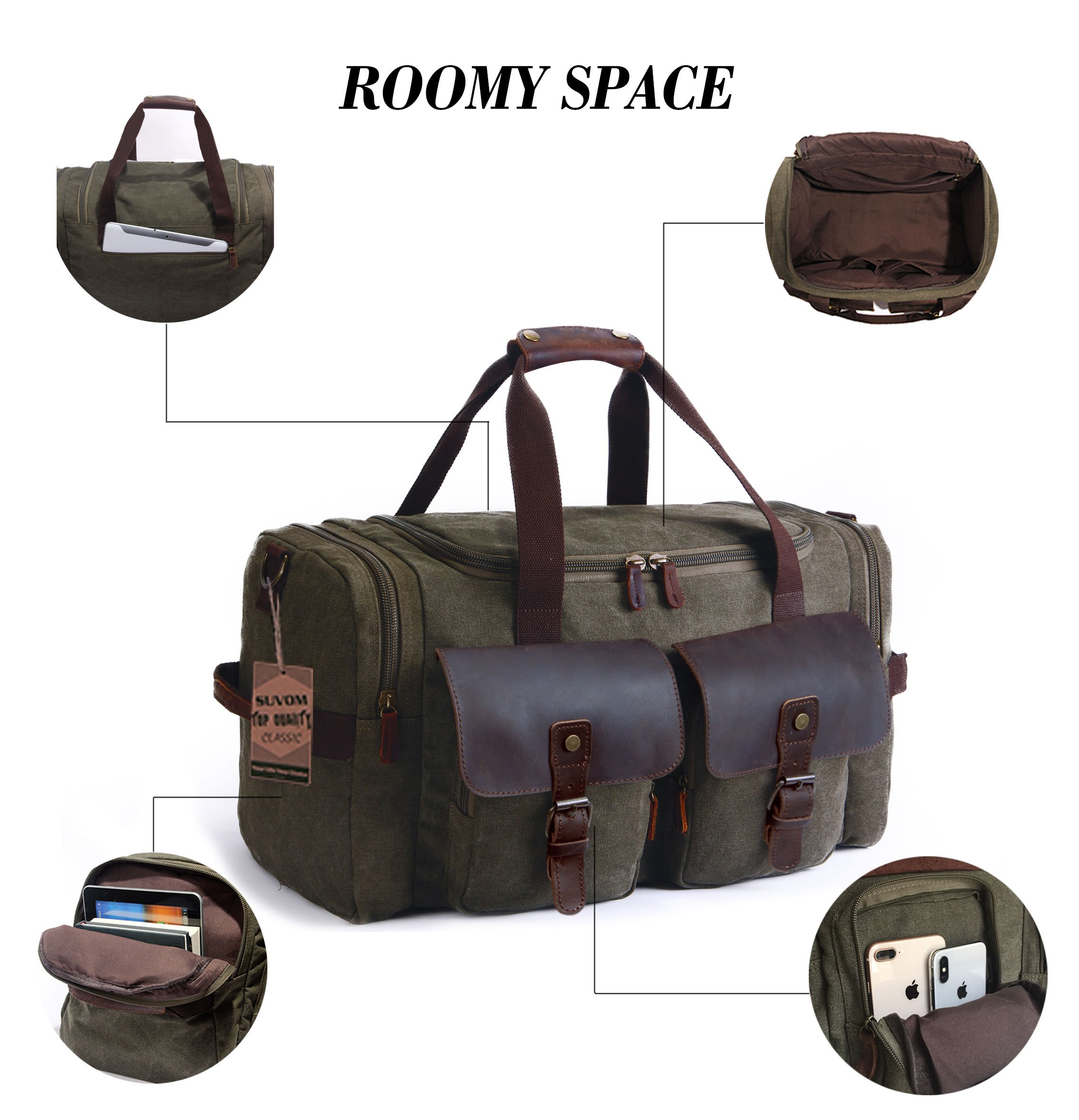 SUVOM Canvas Duffle Bag Leather Weekend Bag Carry On Travel Bag Luggage Oversized Holdalls for Men and Women(Army Green) by SUVOM (Image #2)
