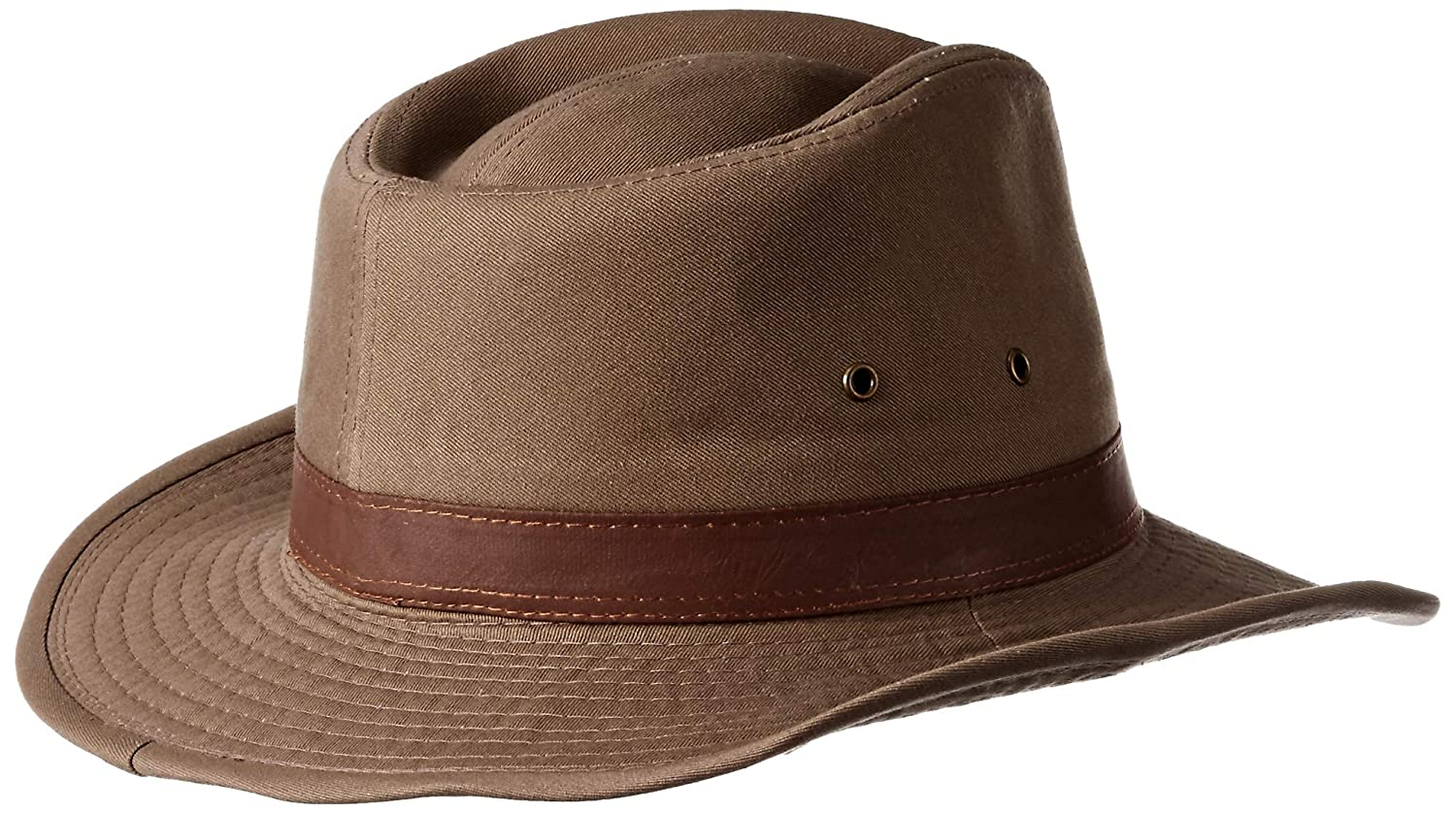 53bab19a6ee Dorfman Pacific Unisex Twill Leather Band Shapeable Outback Hat  Amazon.ca   Clothing   Accessories
