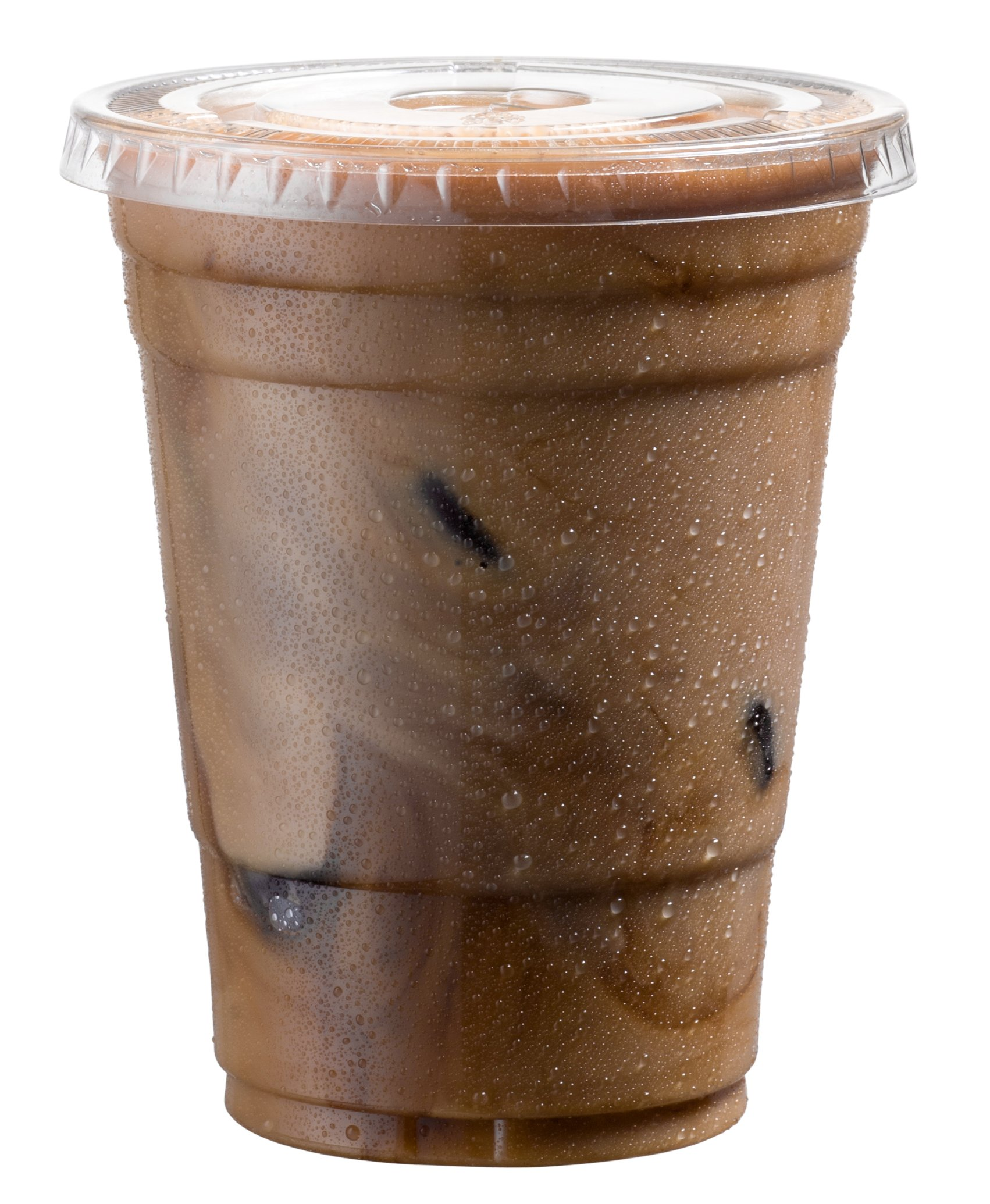Cold Smoothie Go Cups and Lids | Iced Coffee Cups | Plastic Cups with Lids | 16 oz Cups, 50 Pack | Clear Disposable Pet Cups | Ideal for Bubble Tea Juice Soda Cocktail Party Cups [Drinket Collection]