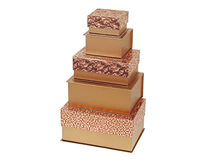 Indian Handicrafts Decorative Gift Boxes Shimmery Rose Gold