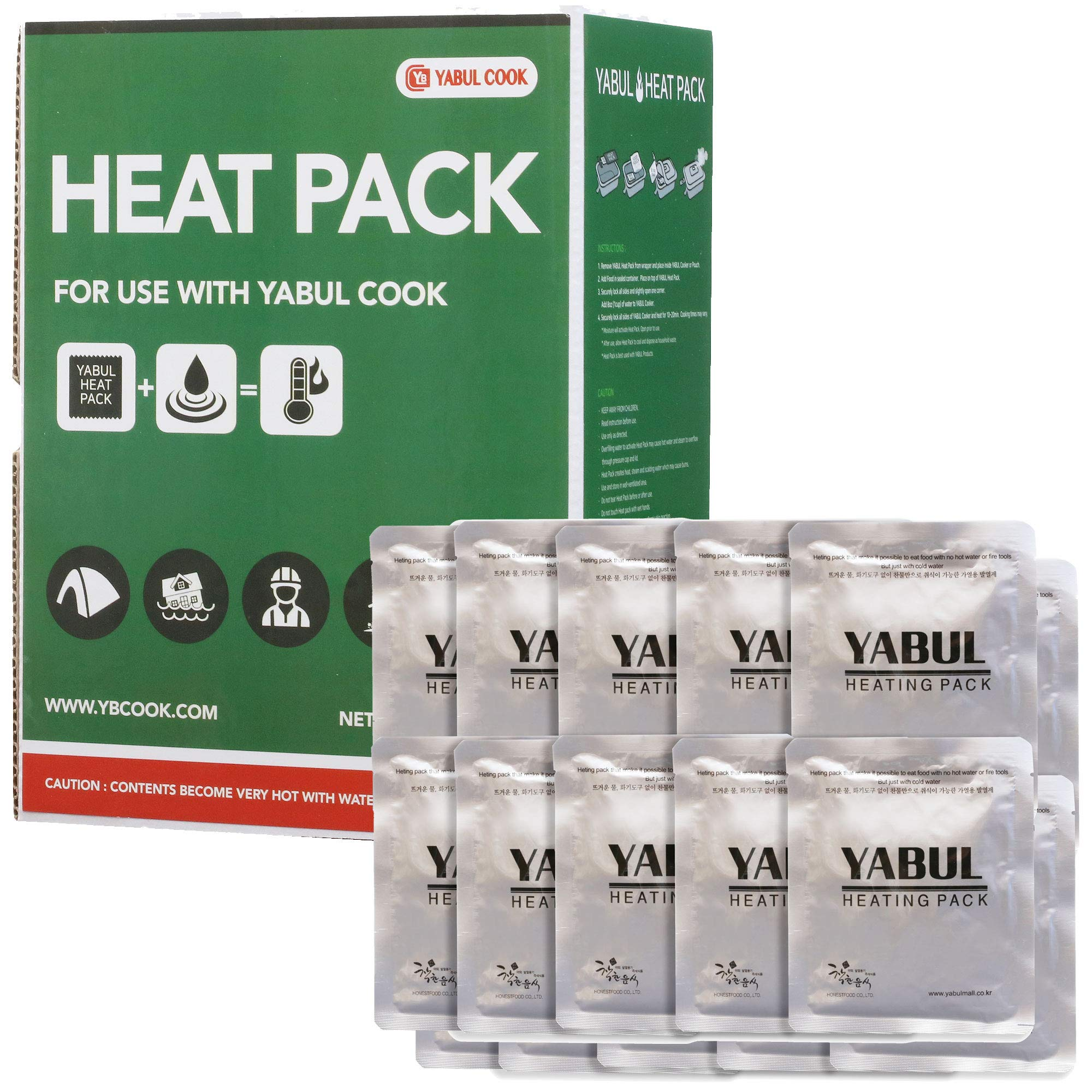 Yabul Large 80g Flameless Heater Heating Pack Set for Yabul Cooker - Safe Fuel to Heat Warm MRE Rations, Camping Foods Fast Anytime without Fire (Pack of 20) by Yabul