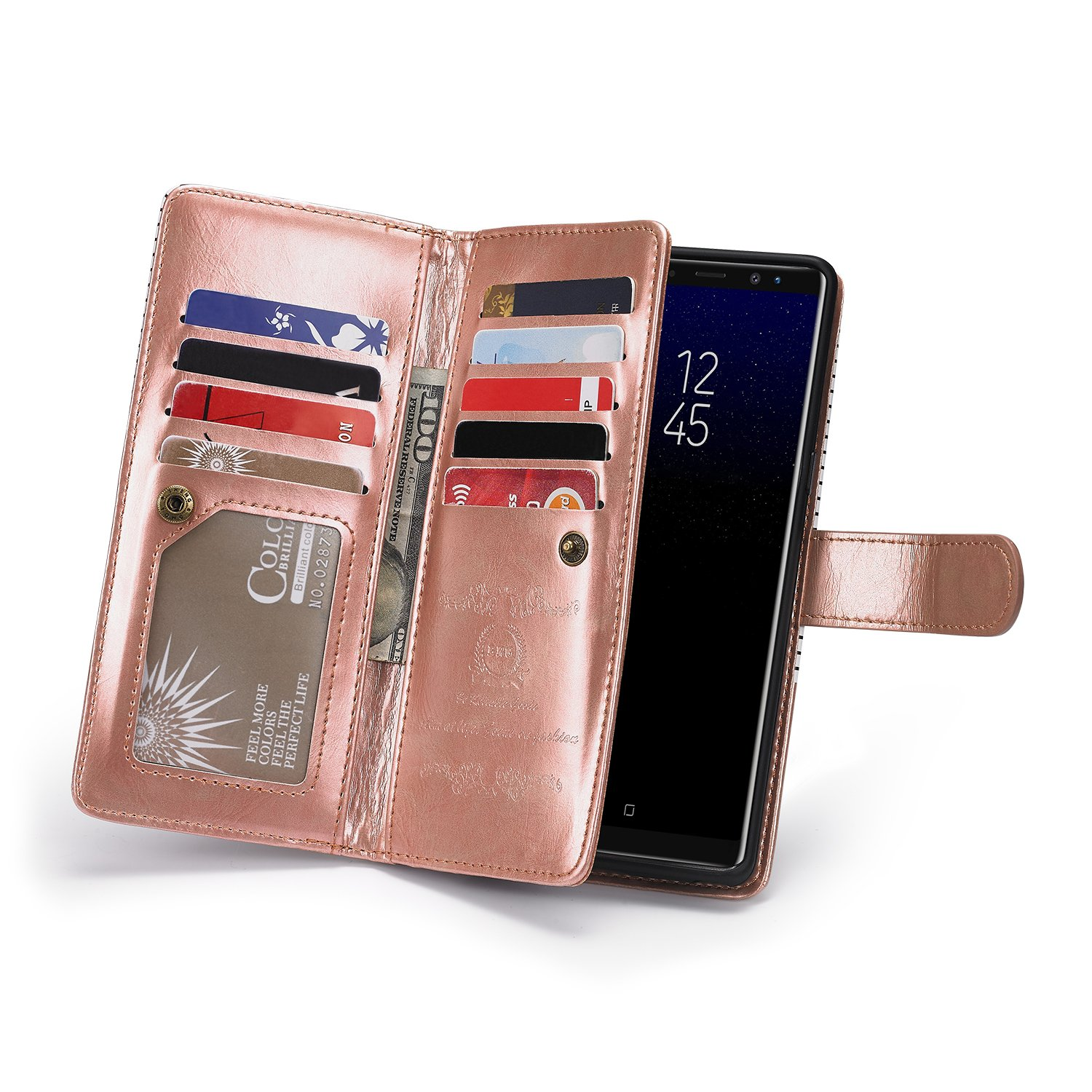 Galaxy S8 Plus Leather Wallet Case,Samsung Galaxy S8 Plus Case with 9 Card Slots,Gostyle Stripe Pattern Magnetic Detachable and Removable PU Flip Cover with Money Clip and Hand Strap(Rose Gold&White)