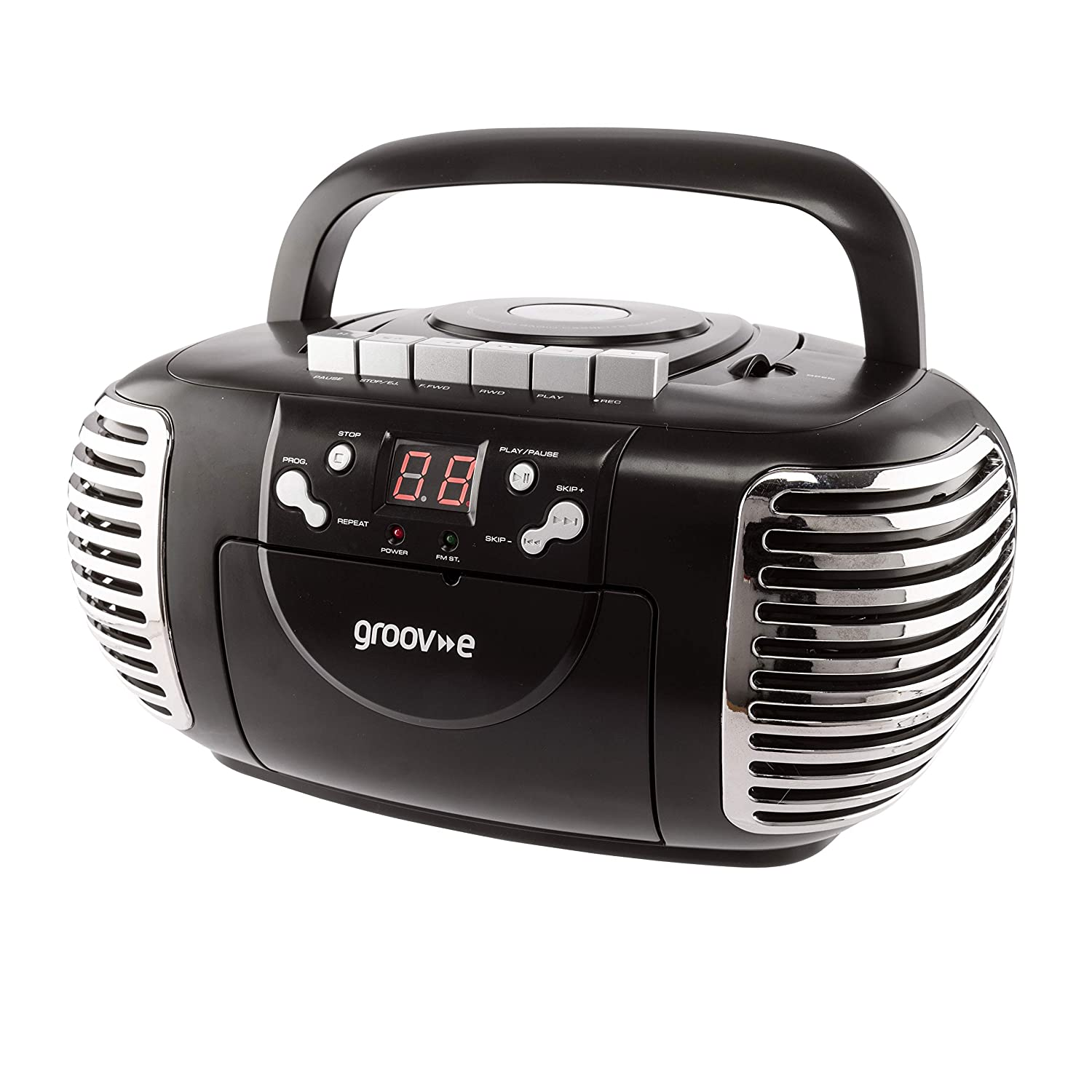 Groov-e Retro Boombox Portable CD & Cassette Player with Radio - Black