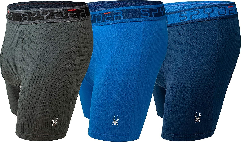 Spyder Performance Mesh Mens Boxer Briefs Sports Underwear 3 Pack W/Fly Front