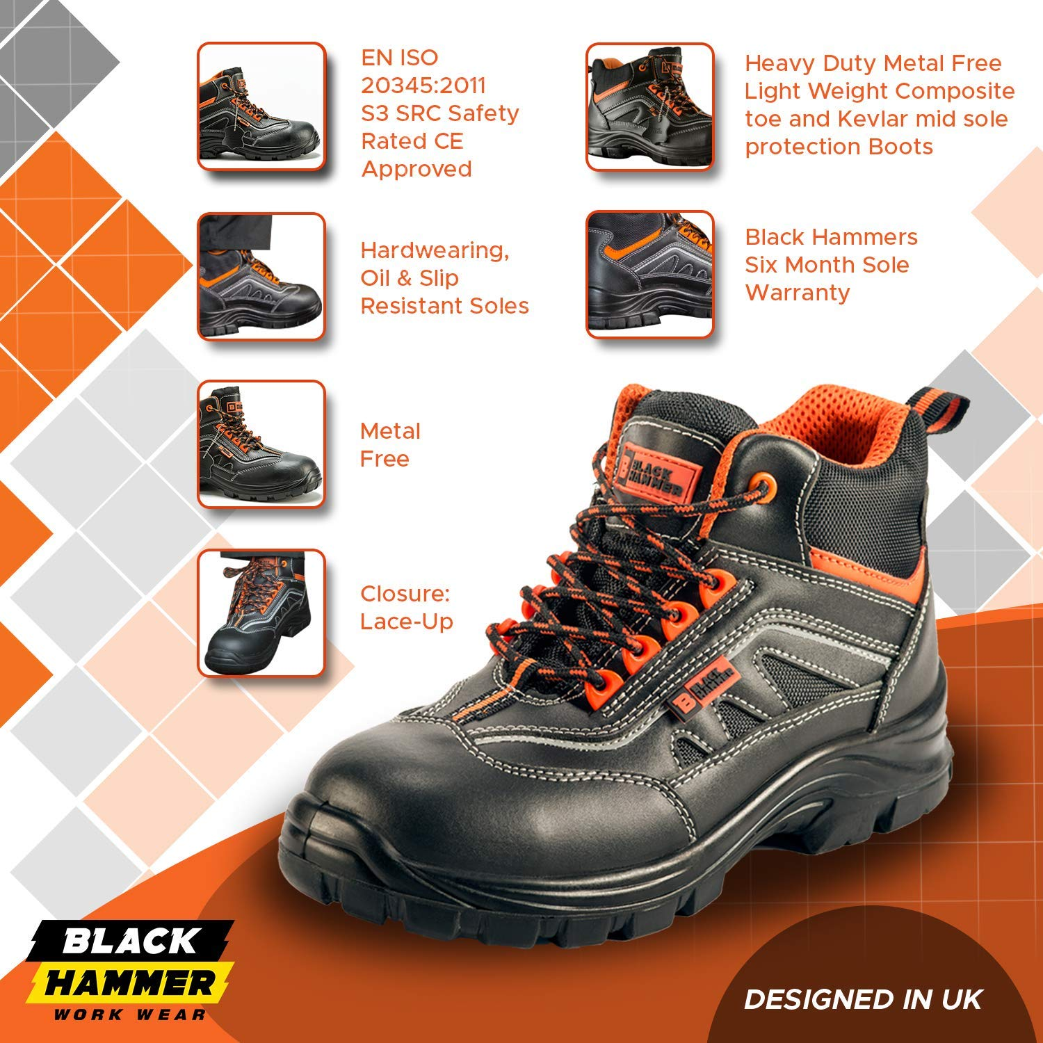 2bbd4556fab Black Hammer Mens Leather Safety Boots S3 SRC Composite Toe Cap Kevlar Non  Metallic Metal Free Lightweight Work Shoes Ankle Hiker 8852  Amazon.co.uk   Shoes ...