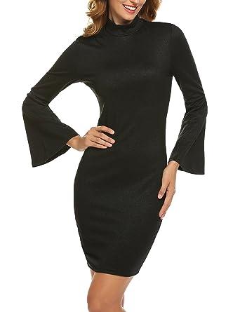 78aaec9d2344 Zeagoo Women Flare Long Sleeve Bodycon Sheath Dress Mock Neck Casual Slim  Fit