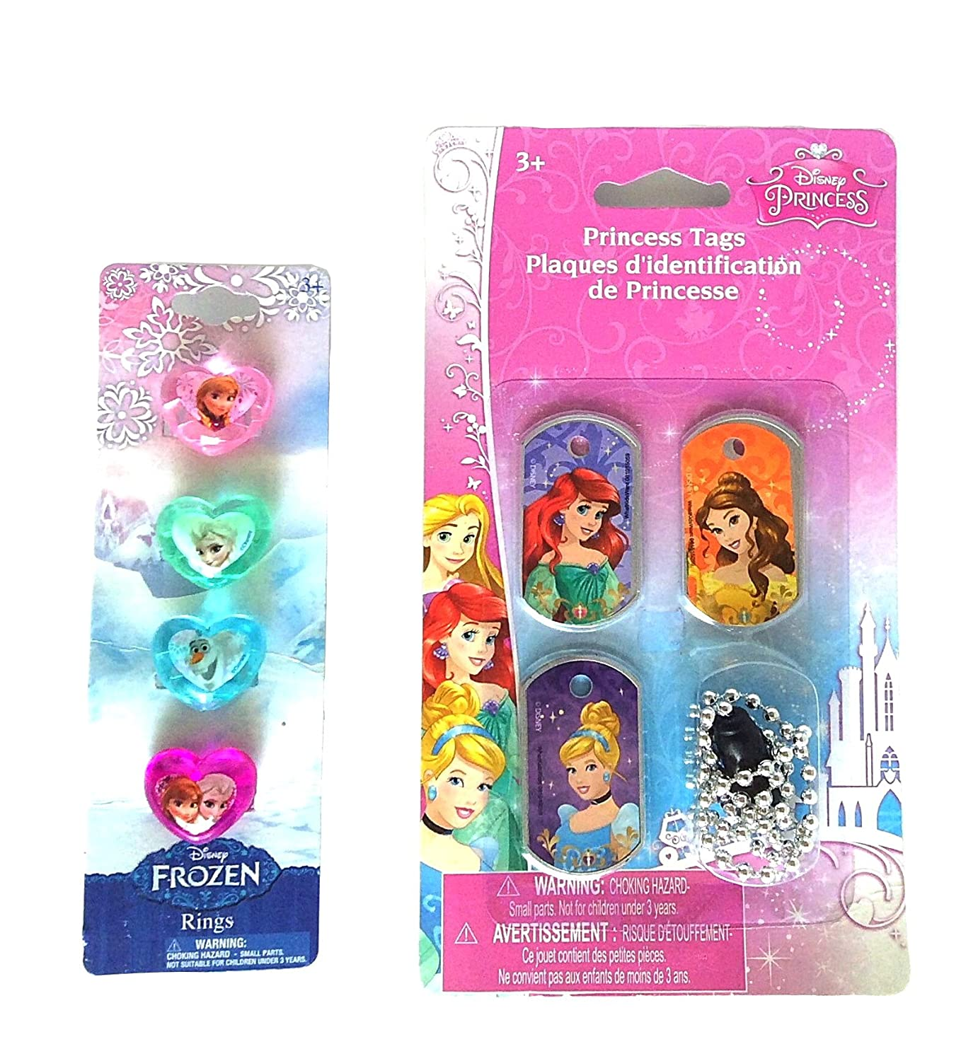 Amazon.com: Disney Princess Dog Tag Necklace - Set of 3 and Heart ...