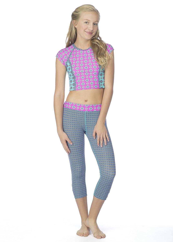 Hobie Girls' Big Mix It Up Short Sleeve Two Piece Rashguard Legging Swimsuit Hobie Girls 7-16 HG7J319G