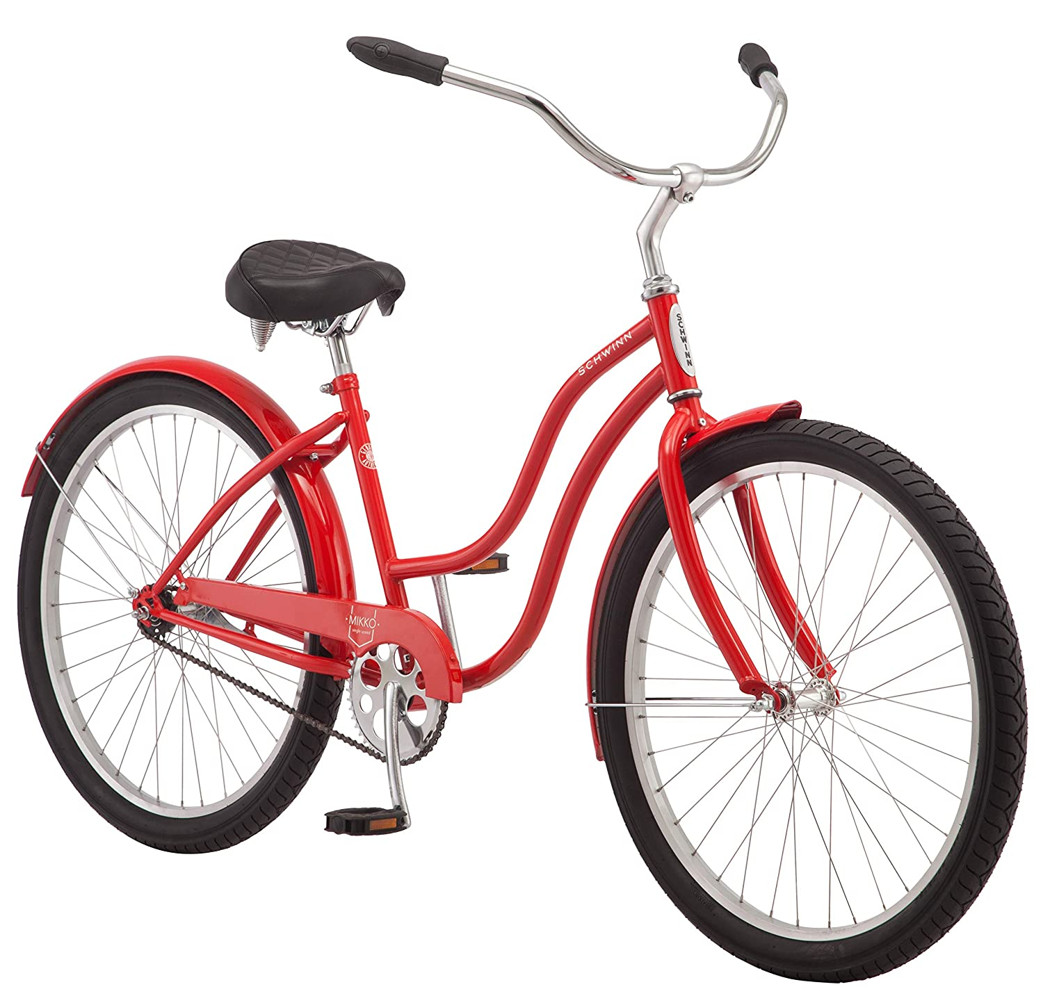 Schwinn Mikko Women s Cruiser Bike Line, Featuring 17-Inch Medium Steel Step-Through Frames, 1-3-7-Speed Drivetrains, Full Front and Rear Fenders, and 26-Inch Wheels, Navy, Purple, Red, and Teal