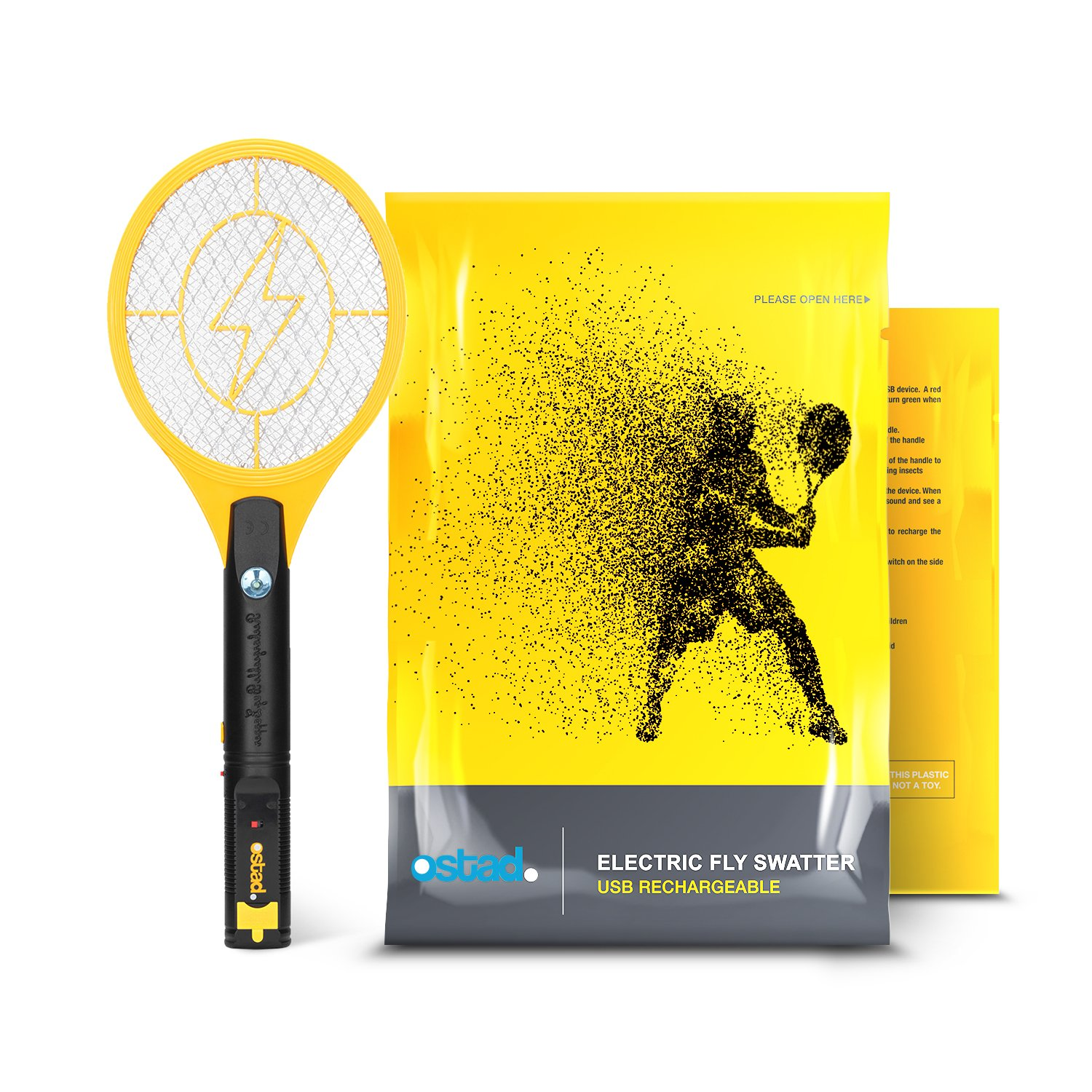 Electric Fly Swatter, Mini Bug Zapper Rechargeable for Mosquito, Flies Killer for Pest Control Indoor and Outdoor, 3800 Volt Power and Triple-Layer Safety Mesh, USB Charging, Bug Zapper Racket Insect