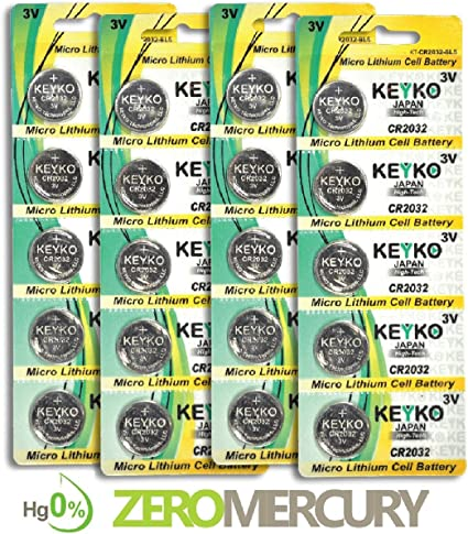 3V Lithium Buttom Coin Cell Battery Type 3.0 Volt 2032 Battery 20 pcs Pack CR2032 DL2032 ECR2032 Genuine KEYKO Supreme High Energy