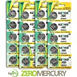 2032 Battery CR2032 3V Lithium Coin Cell Battery Type : CR2032 / DL2032 / ECR2032 Genuine KEYKO ® Supreme High Energy™ - 20 pcs Pack