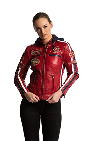 Urban Leather 58 Leren Bikerjack, Chaqueta de Moto para Mujer, Rojo (Red Wax), 48 / 3XL