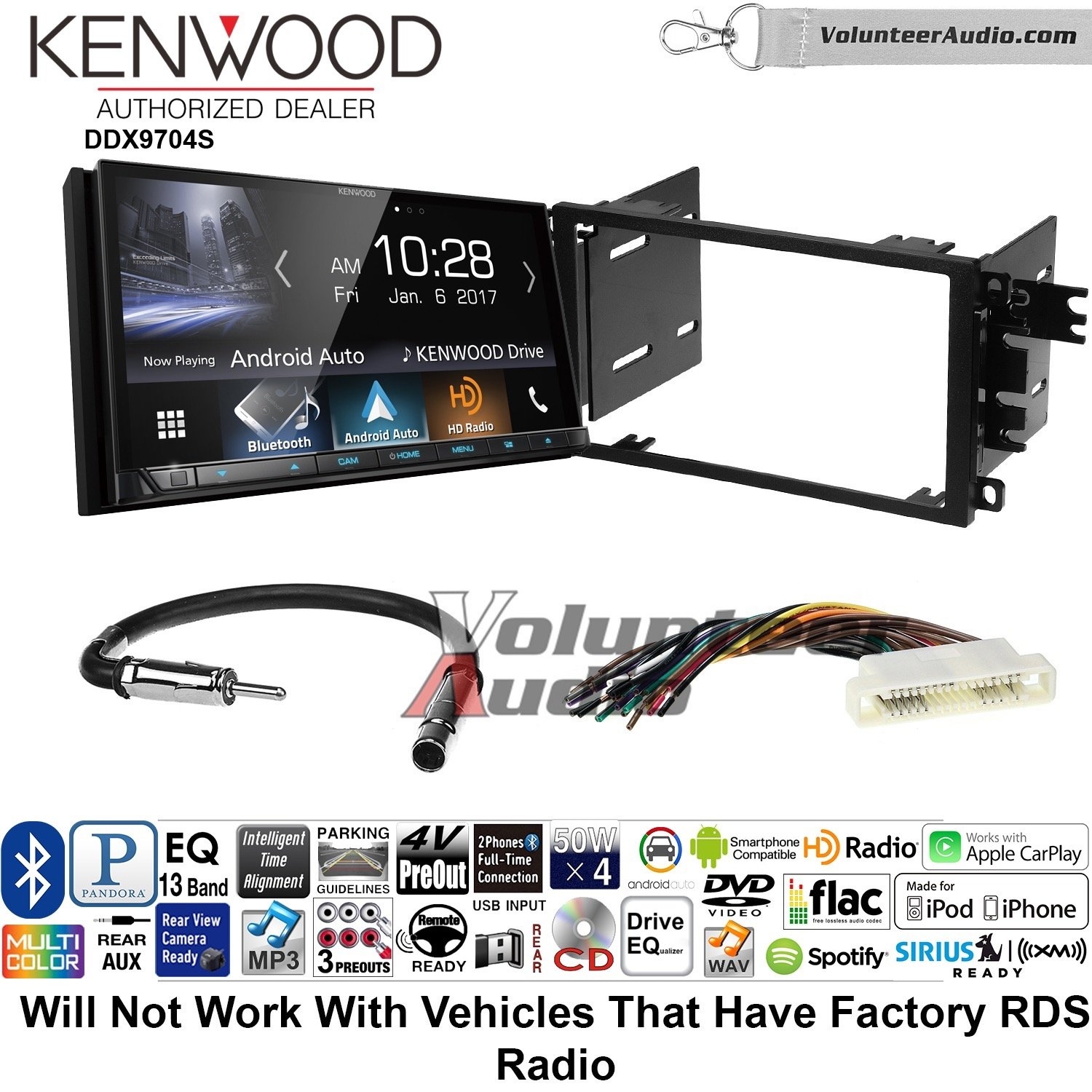 ボランティアオーディオKenwood ddx9704sダブルDINラジオインストールキットwith Apple CarPlay Android自動Fits 2000 – 2005 Buick LeSabre、2000 – 2005 Pontiac Bonneville ( without BOSE ) B07BZXW4VB