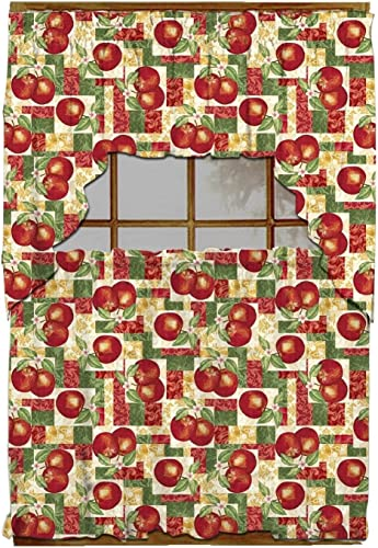 Luxury Home Fashion 3 Piece Kitchen Curtain 100 Polyester, 1 Swag 58 X 34 , 2 Tiers 29 X 36 Each Tier Apples
