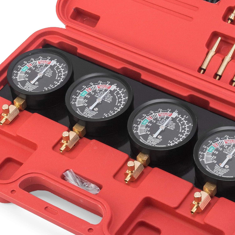 Moracle Sincronizador de Carburador con 4 Man/ómetros Vacu/ómetro Man/ómetro Comprobador de Presi/ón y Vac/ío Combustible Vac/ío Carburador Sincronizador con Vacu/ómetro Carb Sync Calibre