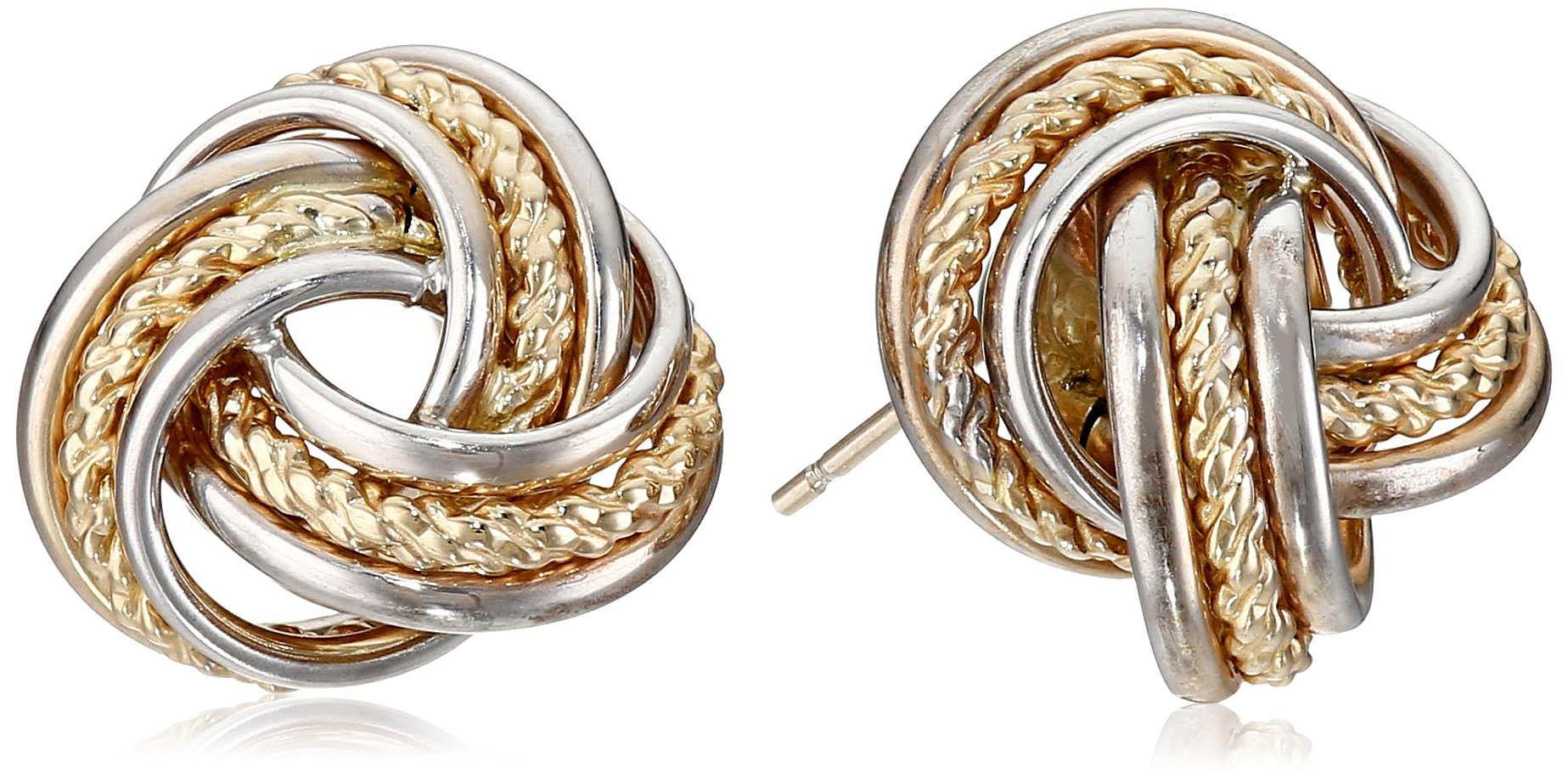 14k Gold Two-Tone Polish Rope Love Knot Stud Earring