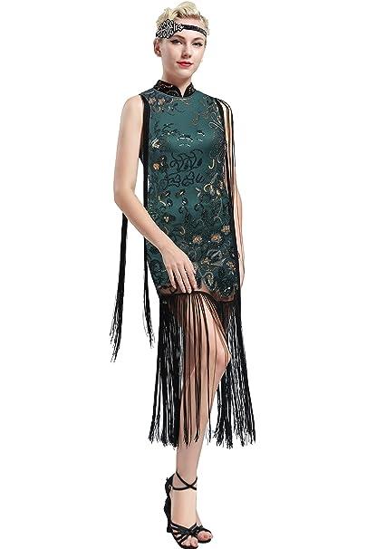 ArtiDeco - Vestido - Cóctel - Sin Mangas - para Mujer Verde Oscuro Small