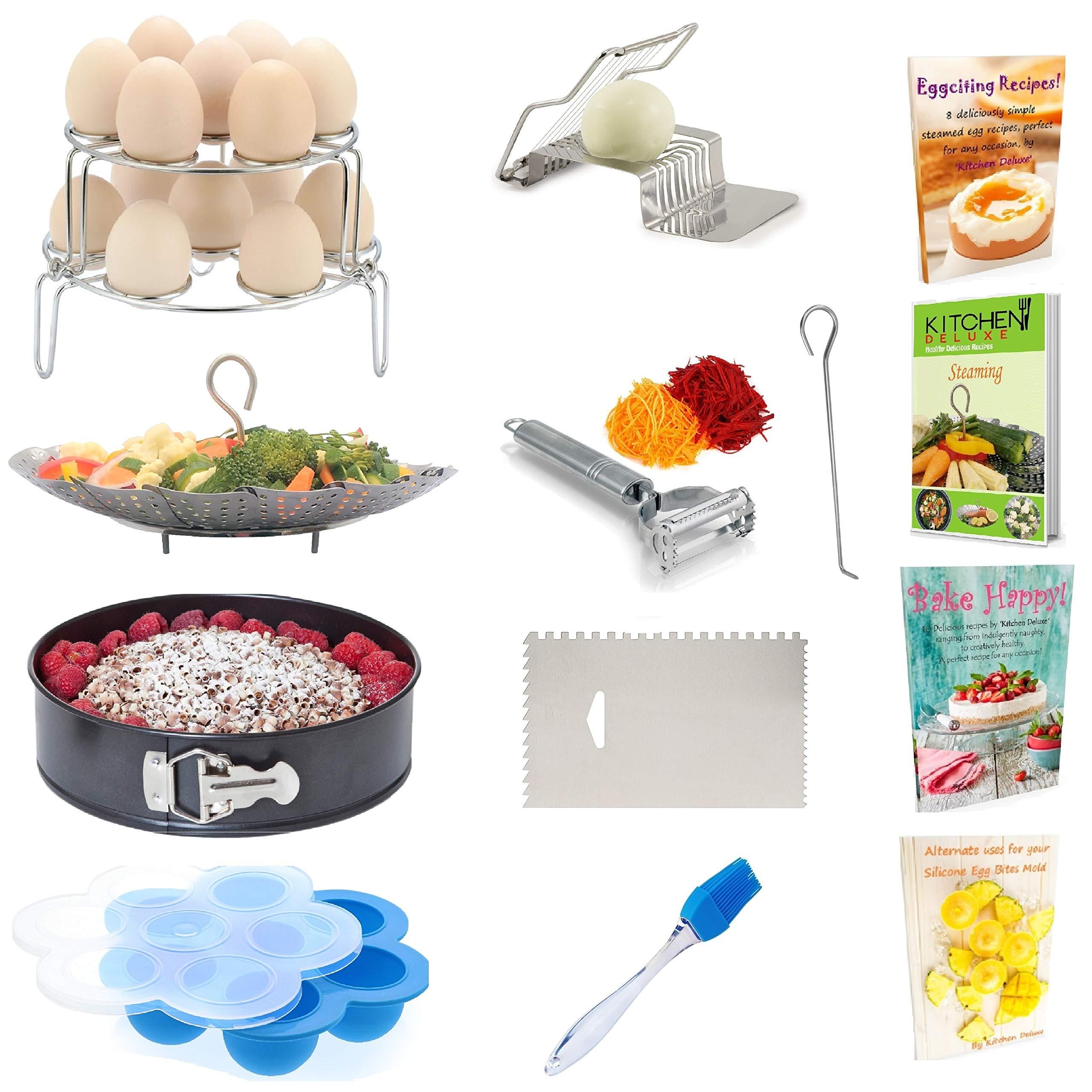 PREMIUM Pressure Cooker Accessories - Steamer Basket, Springform Pan, Egg Rack & Bites Mold - Fits Instant Pot 5, 6 Qt & 8 Quart - Vegetable Peeler, Icing Smoother, Slicer, Pastry Brush + eBooks