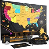 "Newverest Scratch Off United States Map - Detailed USA Scratch Off Map Travel Art Poster, Fits 24"" x 17"" Frame, Comes with Sc"