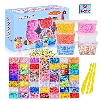 Homemall 58 Pcs Slime Kit Incluyendo Bolas de Espuma, Perlas de ...